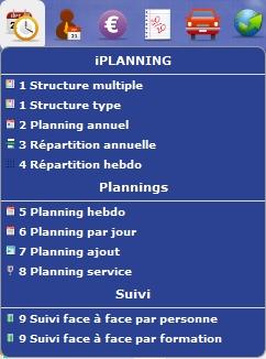 iPlanning : menu principal